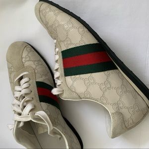 Authentic Gucci Cream Leather Sneakers size 7.5